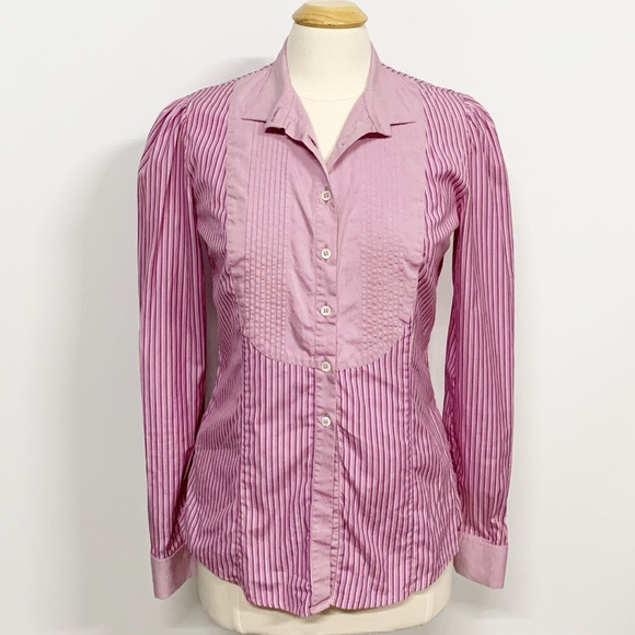 Etro Tops - Etro   Purple Striped Ruffle Button Down Blouse